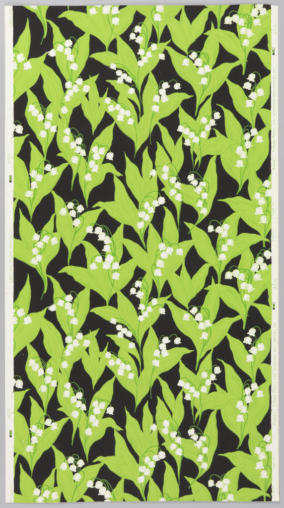 Over white ground, black background with reserved white lilies of the valley and their foliage in three shades of bright green.