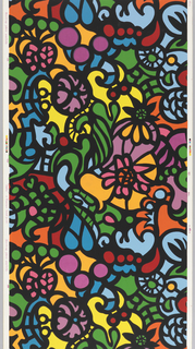 Thick black curving lines outline large-scale pattern of vibrantly bright multi-colors suggesting floral forms in stained glass.