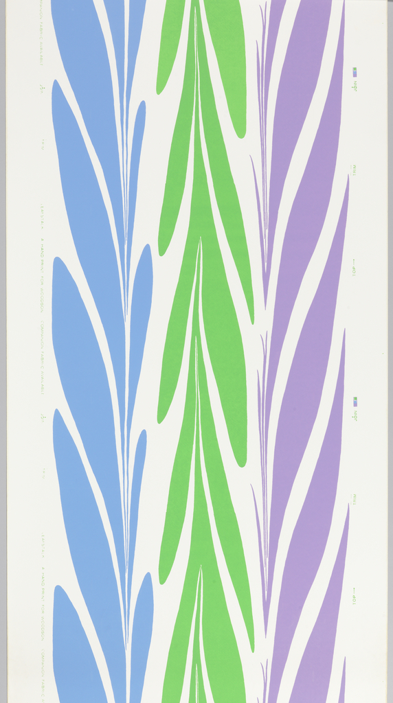 Three vertical stripes, each a configuration of large round-ended leaf forms. One lavender, one blue, one bright green stripe.
