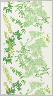 On white ground, large meandering sprays of delicate ferns in several varieties in shades of bright green, with pairs of yellow and green butterflies at repeat intervals.