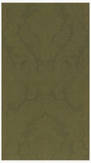 Large-scale floral in acanthus medallion. Printed in light olive flock on dark olive flocked ground. Flock on flock.