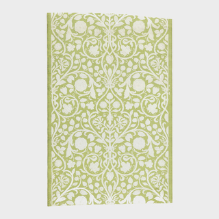 All-over pattern of flowers and vining tendrils. Design is embossed and printed in white on green background that resembles grasscloth.