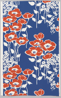 Over white ground, bright deep blue background color with reserved white stalks and foliage and brightest red oversized poppies.