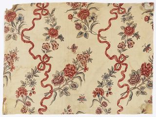 Curving stems of flowers and bow-tied ribbons. European adaption of a European woven fabric design.