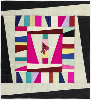 Square wrapping cloth of silk patchwork in bright blue, pale greens, yellow, bright pinks and white. Each individual element is composed of a diagonally spliced, parti-colored rectangle, giving a dynamic overall composition. Off-white lining.