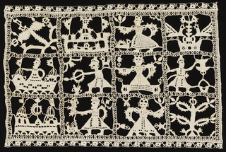 Small oblong panel of needle lace (reticella). Designs arranged in squares in three rows depicting people, boats, etc. Probably Biblical and contains one episode of Judith and Holofernes.