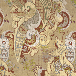 Length of woven silk brocaded in gold and silver yarns with pale blue, violet, green, coral and touches of magenta silk. 'Bizarre' style design of feather-like scrolls and geometric frets composed into large curving shapes.
