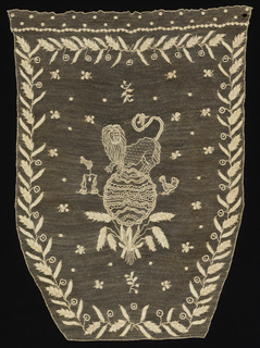 Sheild-shaped face of a bag. A central figure of a lion standing atop a globe supported by sheaves of wheat, with a pair of scales to the left and a bird to the right. Border of wheat stalks.