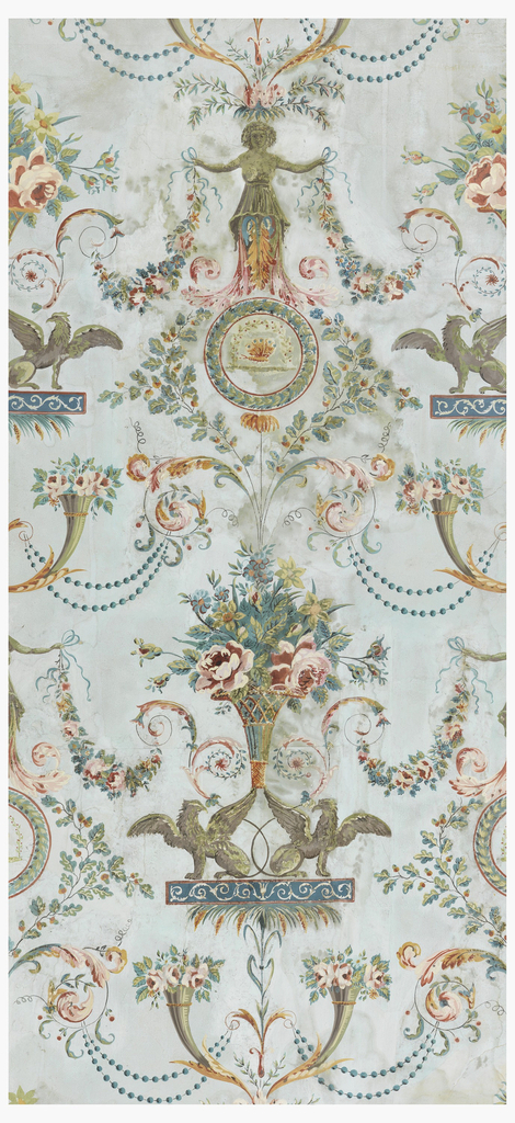 Vertical rectangle with arabesque or grotesque design. Printed on joined sheets of paper. Alternating motifs: two addorsed griffins upholding a flower basket; female figures sheathed in foliage, resting upon a circular medallion enclosing a butterfly; cornucopia with flowers; branches, scrolls and pearls.