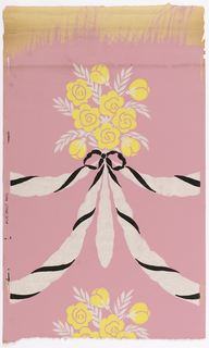 "Bouquet of stylized roses and leaves printed in flat stencilled effects without shading. Bouquet is tied with bowknot of black and ivory streamers twisted together. The double ends are festooned on either side of bouquet connecting with the following one. Printed on margin: ""Andre Groult - Paris""."