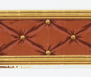 Red flock pattern with shaded highlights imitating tufting, with gilt and yellow buttons. Gilt, yellow and brown lines form both borders.