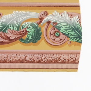 On ground of orange-yellow, illusionistically shaded; continuous scrolled band of large acanthus leaves, tendrils, and rosettes in greens, pinks and white. Edging below: cable of close-packed flowers between architectonic lines, in pinks.