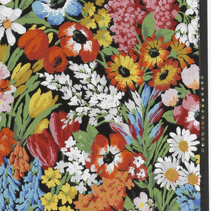 On black ground, thick coverage of foliage, multi-colored flowers including white daisies, corn flowers, red tulips, white and red lilacs, red and blue hyacinths, red poppies, etc.