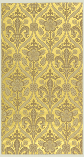 Diaper pattern, with fleur de lis motif alternating with a Tudor rose motif.  Printed in two colors on metallic gold ground.