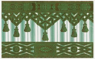 Top and bottom passementerie borders printed on a striped sidewall paper. Printed in green flock and overprinted with brighter green, the top border is formed by intertwined lace or ribbon, forming sharp angles, with pendent tassels. Above this is a wider band of gimp or fancy ribbon. The bottom border is composed of the same lace or ribbon forming sharp diamond shapes. Within the diamond framework is a rosette. Between the diamond shapes is a patera within a rectangular framework. The sidewall is bands of stripes, alternating wide and narrow.