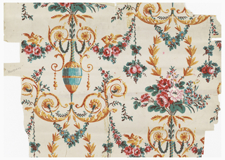 "Arabesque design. Blue urn holding floral bouquet and wheat shafts. Scrolling foliage above and below. Strung bead pendants. Pairs of doves. Printed in polychrome on white ground. Original document for ""Bouquet."""
