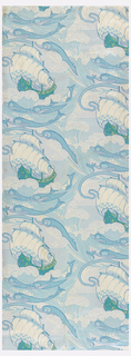 Sanitary wallpaper with repeating design of a large ship at sea, framed within rolling waves and dolphins.  Printed in blue and green on white ground.