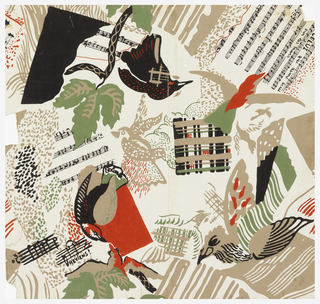 Motifs, which appear to be scattered at random, include stylized birds, foliage, music signatures, fragments of sheet music, clouds, plaid squares. Printed in tan, black, red, and dull green against a beige background. Dada-styled wallpaper.