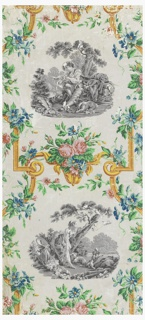 """Vertical rectangle. Bright yellow scrollwork frame entwined by floral festoons, enclosing grisaille scenes after Boucher; one derived from his picture """"L'Arrive du Courier."""" Printed in colors on putty-colored ground."""