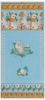 Vertical rectangle. Field covered with diagonally-placed white dots, leaving space for two motifs at center; one of a child offering a rose to a woman seated in a chair beside a table; the other of a rabbit crouched on a log. Above, border of drapery and daisy baskets; above this, and across the bottom, border strip of simulated architectural molding, printed in brown and yellow.