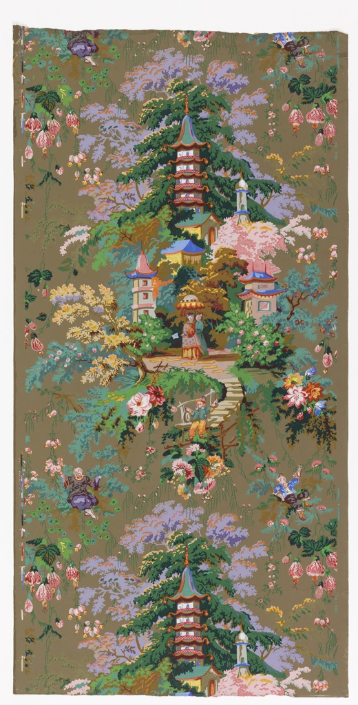 Group of pagodas and other oriental buildings with a minaret, in setting of trees; Chinese lady and servant with parasol, beyond small bridge on which sits Chinese boy. Space about this medallion is filled with festooned and scattered flowers, and small boy. Printed in twenty-two colors on brown ground. Vertical rectangle, a full width, giving one and a half repeats.