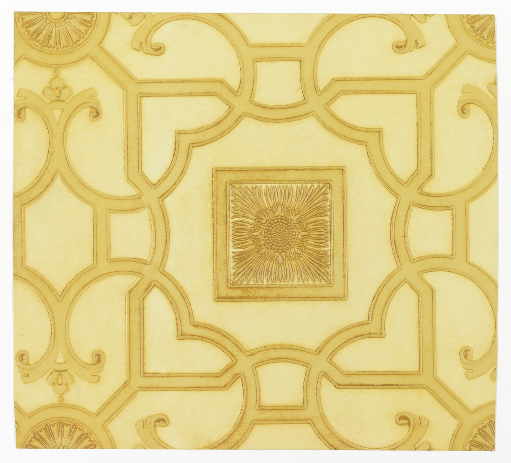 "Imitation leather. Geometric design of interlacing bands with embossed edges. These bands encircle alternately a square and a rosette, each with an embossed design center. Field is plain. The entire surface is antiqued by hand. On reverse side is printed: ""8811""."