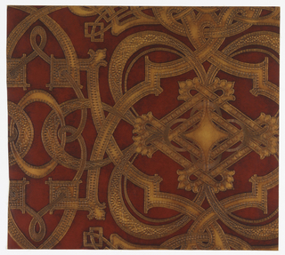 "Imitation leather. Large scale geometric design of interlacing circular bands. The bands are covered with small designs, suggestive in places of ornate nail head studding. All of design is embossed and the entire paper is antiqued by hand. Printed from woodblocks in oil paint. On reverse side is written: ""8666EE""."