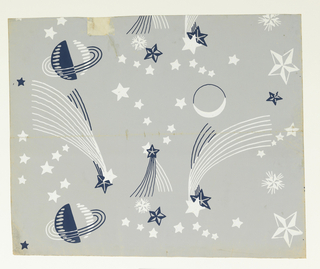 A collection of astronomical motifs is strewn over the surface, such as planets, stars, moons and shooting comets. Printed in blue and white on a gray ground. Manufactured by Marion Dorn, Ltd.