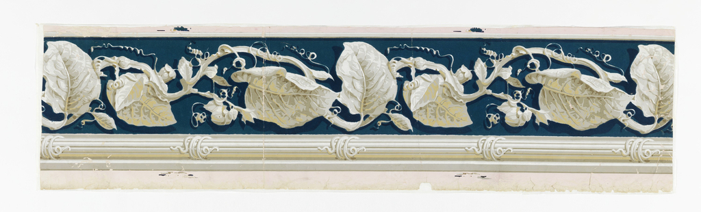 Naturalistically represented large, veined leaves, tendrils and contorted stems in grisaille-like beiges and white in continuous arrangement on background of bright deep blue flocking. Below, banding of horizontal beige and white lines, the banding, illusionistically shaded, appears in-the-round, with tiny snakes coiled about at regular intervals.