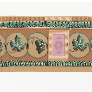 On light brown ground, contiguous circles of green with alternating green grapes and leaves springing the circles to fill their lighter brown centers. Circles interupted by panels with flattened flower patterns in pink. Architectonic border of acanthus above and pointed leaves along bottom in same colorings as major motifs: shaded greens and yellows with black.
