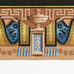 On light brown ground, pattern in bright blue, yellows, pink, brown and black. Urns on pedestals, Greek key, tasseled fabric, with flower and leaf pattern, etc.