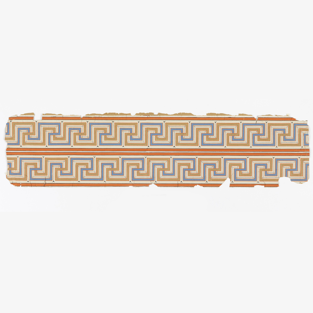 Double width of Greek key design, printed in blue, ochre, orange and black on white ground.