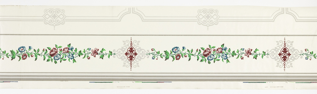 Top or bottom wallpaper border; gray scrollwork and outlines, banding of bright red and blue flowers in green foliage between clusters of scrollwork which mark the repeat. Printed on white satin ground.