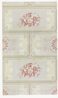 Geometric ashlar block patterned background in tan, white, green, cream and rose. Floral motif in each block.