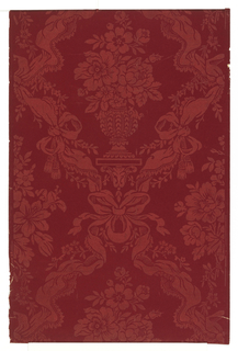 Red flocked floral paper used in the hall. Diaper pattern composed of foliage and bow knots with tassels, with inset floral bouquets in vases.