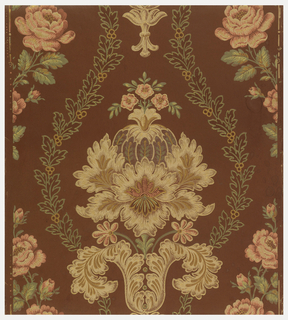 Stylized floral medallion, surrounded by foliate and berry garlands, alternating with vining roses, printed in colors on brown satin ground.