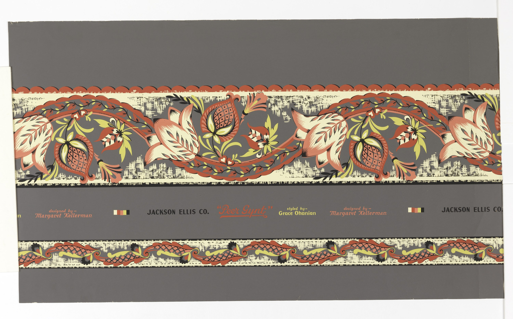 Serpentine border in five colors with stylized tulips and other flowers. Scalloped lower edge, included in the same sheet is smaller serpentine border of leaves and buds to be used as chair-rail or to outline panels.