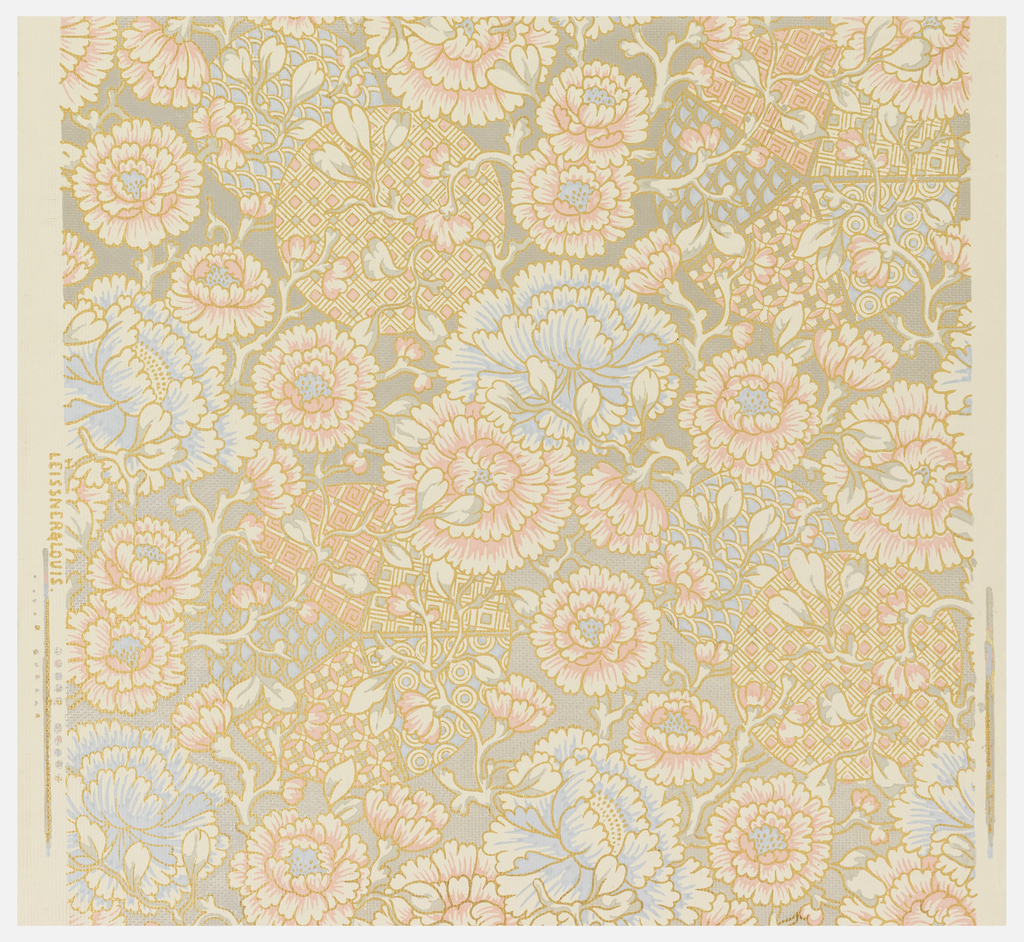 Anglo-Japanesque or Japonaiserie design of pink and pastel blue flowers, cream and gray foliage over circles with geometric pattern fills; patterning outlined in metallic gold. Background of metallic silver, over cream ground on embossed paper.
