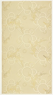 Square trellis format, with one large circle and grouping of smaller circles at each intersection. A branch of cherry blossoms and a beaded wreath are attached to each grouping of circles. Anglo-Japanesque style. Printed in metallic gold and mica on off-white ground.