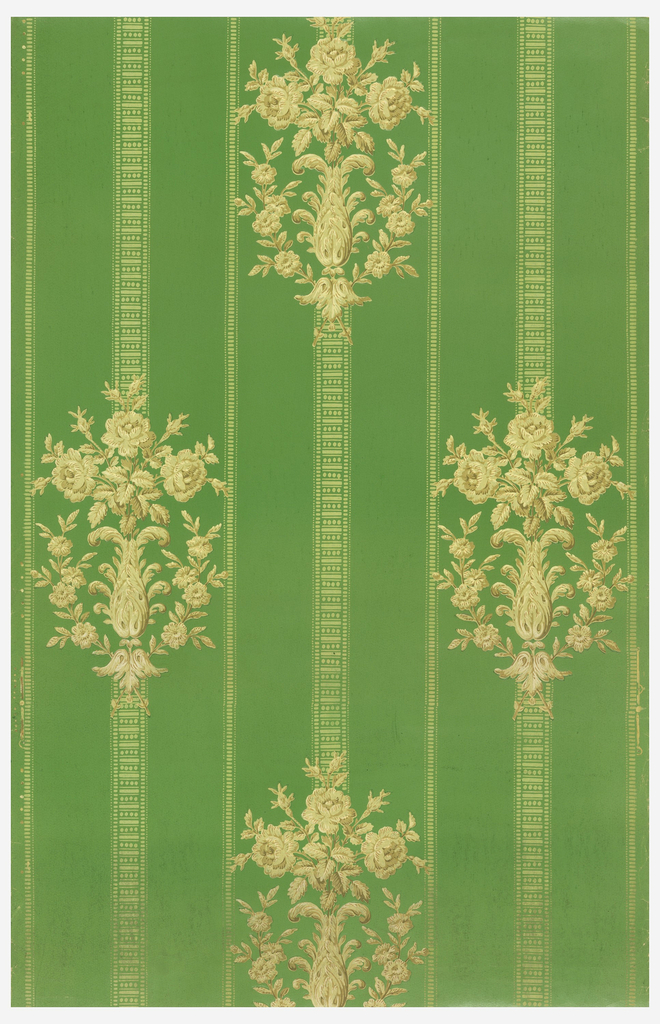 "Stylized floral stripe: floral bouquet in acanthus ""vase"" on lace-like stripe. Printed in tans on green satin ground."
