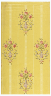 Bouquets of roses, printed in multi-colors and embossed over background of yellow with fine white stripes.