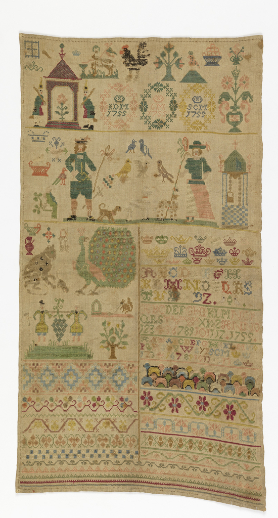 Vertical rectangle with various embroidered motifs. Crowned initials and date 1755 three times at top. Alphabets at right center; pattern bands at bottom.