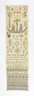 Crucifixion, religious symbols, text, alphabet, numerals and motifs.