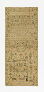 """At top, cross borders showing alphabets, numbers, floral and geometric designs and """"A G F den 10 July"""" (Angefangen 10th July); below, scattered motifs including a wreath with """"D S M CG G ANNO 1806,"""" flowers, animals, people in a sleigh, and """"F E G W den 23 AUGUS"""" (Fertig Guersen August 23rd)."""