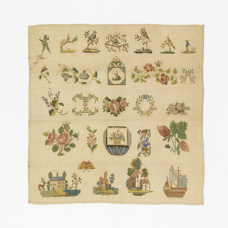 Five bands of motifs starting with harlequin, birds, curving floral bands, strawberry, two houses in landscape and a ship.
