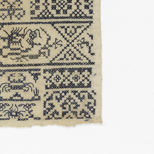 "Blue embroidery on white foundation.  Densely arranged motifs of borders, animals, and lozenges.  Inked ""1937.0.24"" followed by Chinese characters on reverse upper right."