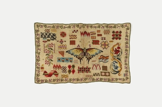 Scattered motifs, mostly geometric, dominated by large butterfly in the center, embroidered in many colors on a natural linen ground. With a flowering vine border.