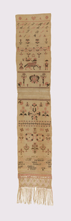 Long narrow sampler dated 1645 near the top.  Motifs include the Sibmacher agn-- dei near the op.  Probably made following a 19th century pattern book.  Two lengths sewn together with decorative needle-made join.  Third short length of twill damask attached with attached braided fringe.