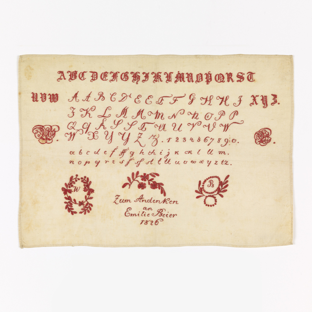 "Alphabets and monograms in red on white ground.  At bottom ""Zum Andeken au Emilie Beier 1826"" marking sampler"