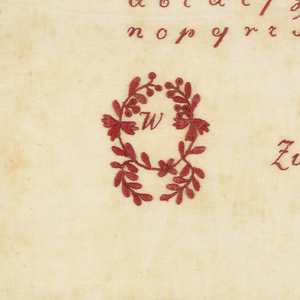 "Alphabets and monograms in red on white ground.  At bottom ""Zum Andeken au Emilie Beier 1826"" marking sampler"